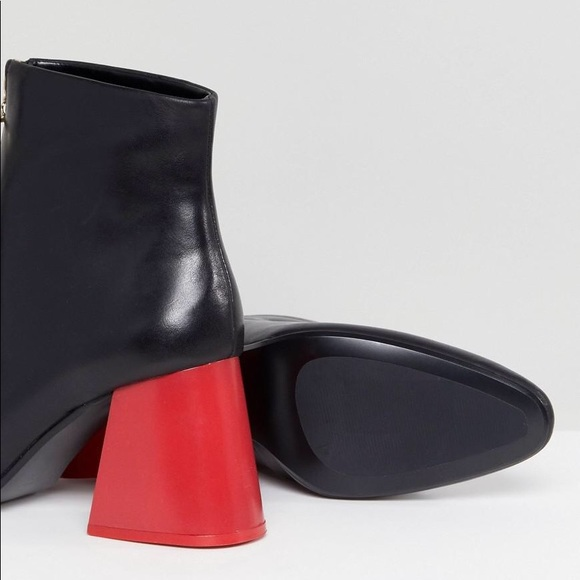a9da24e5ea5 Mango leather ankle black boots with red heels
